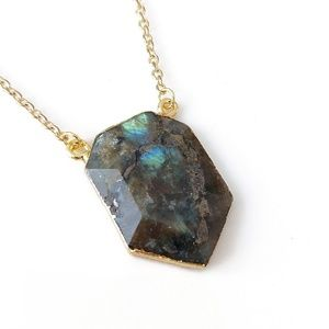 Gold-plated labradorite stone necklace